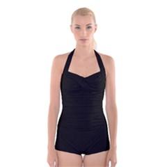Black Gothic Boyleg Halter Swimsuit  by Costasonlineshop