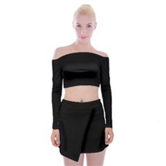 Black Gothic Off Shoulder Top With Skirt Set by Costasonlineshop