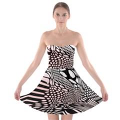 Abstract Fauna Pattern When Zebra And Giraffe Melt Together Strapless Bra Top Dress