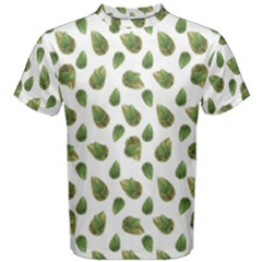 Leaves Motif Nature Pattern Men s Cotton Tee by dflcprintsclothing