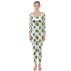 Leaves Motif Nature Pattern Long Sleeve Catsuit by dflcprintsclothing
