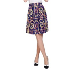 Tribal Ornate Pattern A-Line Skirt by dflcprintsclothing