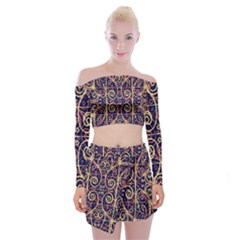 Tribal Ornate Pattern Off Shoulder Top With Skirt Set by dflcprintsclothing