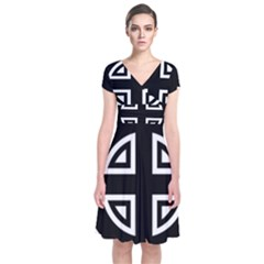 Celtic Cross Short Sleeve Front Wrap Dress by abbeyz71