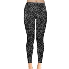 Linear Abstract Black And White Leggings  by dflcprintsclothing