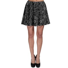 Linear Abstract Black And White Skater Skirt by dflcprintsclothing