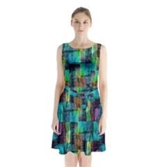 Abstract Square Wall Sleeveless Waist Tie Chiffon Dress by Costasonlineshop