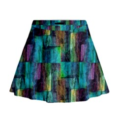 Abstract Square Wall Mini Flare Skirt by Costasonlineshop