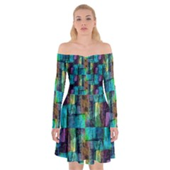 Abstract Square Wall Off Shoulder Skater Dress by Costasonlineshop