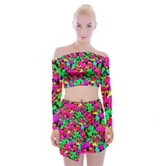Colorful Leaves Off Shoulder Top With Skirt Set by Costasonlineshop