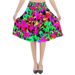 Colorful Leaves Flared Midi Skirt by Costasonlineshop