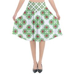 Floral Collage Pattern Flared Midi Skirt by dflcprintsclothing