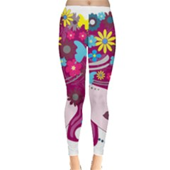 Beautiful Gothic Woman With Flowers And Butterflies Hair Clipart Leggings  by Vayuart