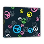 Peace & Love Pattern Canvas 14  x 11