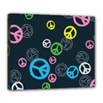 Peace & Love Pattern Deluxe Canvas 24  x 20