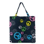 Peace & Love Pattern Grocery Tote Bag