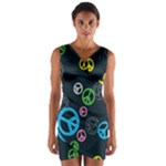 Peace & Love Pattern Wrap Front Bodycon Dress
