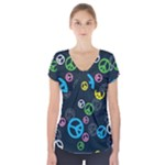 Peace & Love Pattern Short Sleeve Front Detail Top