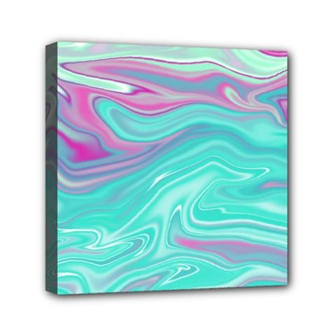 Iridescent Marble Pattern Mini Canvas 6  X 6  by tarastyle