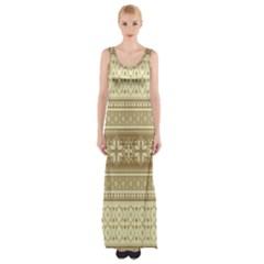 Pattern Maxi Thigh Split Dress by Valentinaart