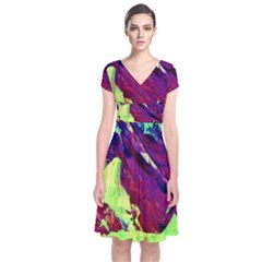 Abstract Painting ,blue,yellow,red,green Short Sleeve Front Wrap Dress by Costasonlineshop