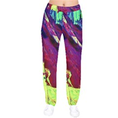 Abstract Painting ,blue,yellow,red,green Drawstring Pants by Costasonlineshop