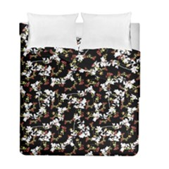 Dark Chinoiserie Floral Collage Pattern Duvet Cover Double Side (full/ Double Size) by dflcprints