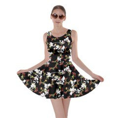 Dark Chinoiserie Floral Collage Pattern Skater Dress by dflcprintsclothing