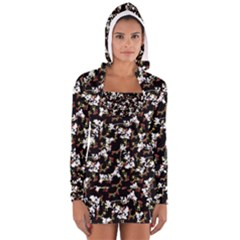 Dark Chinoiserie Floral Collage Pattern Women s Long Sleeve Hooded T Shirt by dflcprintsclothing