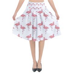 Pink Flamingo Pattern Flared Midi Skirt by CrypticFragmentsColors