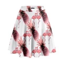 Flamingo Pineapple Tropical Pink Pattern High Waist Skirt by CrypticFragmentsColors