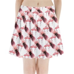 Flamingo Pineapple Tropical Pink Pattern Pleated Mini Skirt by CrypticFragmentsColors