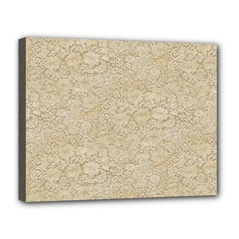 Old Floral Crochet Lace Pattern Beige Bleached Canvas 14  X 11  by EDDArt