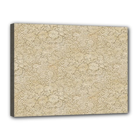 Old Floral Crochet Lace Pattern Beige Bleached Canvas 16  X 12  by EDDArt