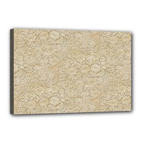 Old Floral Crochet Lace Pattern Beige Bleached Canvas 18  X 12  by EDDArt
