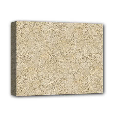 Old Floral Crochet Lace Pattern Beige Bleached Deluxe Canvas 14  X 11  by EDDArt