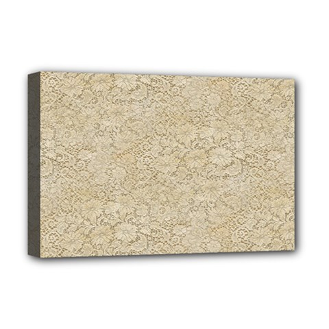 Old Floral Crochet Lace Pattern Beige Bleached Deluxe Canvas 18  X 12   by EDDArt