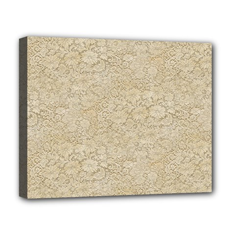 Old Floral Crochet Lace Pattern Beige Bleached Deluxe Canvas 20  X 16   by EDDArt