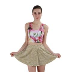 Old Floral Crochet Lace Pattern Beige Bleached Mini Skirt by EDDArt