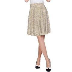 Old Floral Crochet Lace Pattern Beige Bleached A Line Skirt by EDDArt