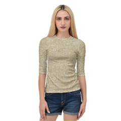 Old Floral Crochet Lace Pattern Beige Bleached Quarter Sleeve Tee by EDDArt