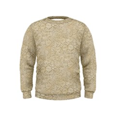 Old Floral Crochet Lace Pattern Beige Bleached Kids  Sweatshirt by EDDArt