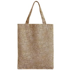 Old Floral Crochet Lace Pattern Beige Bleached Zipper Classic Tote Bag by EDDArt