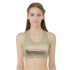Old Floral Crochet Lace Pattern Beige Bleached Sports Bra With Border by EDDArt