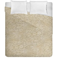 Old Floral Crochet Lace Pattern Beige Bleached Duvet Cover Double Side (california King Size) by EDDArt