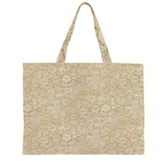 Old Floral Crochet Lace Pattern Beige Bleached Zipper Large Tote Bag by EDDArt