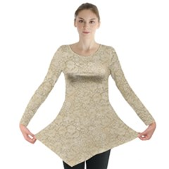 Old Floral Crochet Lace Pattern Beige Bleached Long Sleeve Tunic  by EDDArt