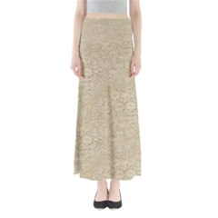 Old Floral Crochet Lace Pattern Beige Bleached Maxi Skirts by EDDArt