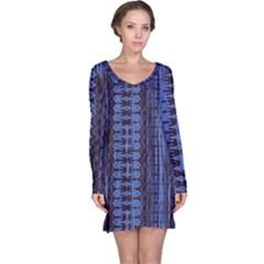 Wrinkly Batik Pattern   Blue Black Long Sleeve Nightdress by EDDArt