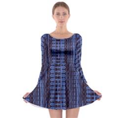 Wrinkly Batik Pattern   Blue Black Long Sleeve Skater Dress by EDDArt